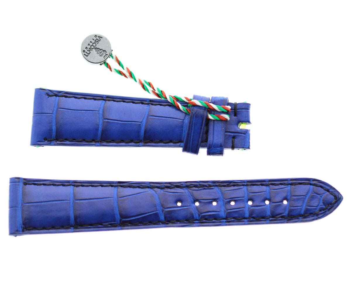 Electric Blue Alligator leather watch strap 20mm / Stitching on-tone