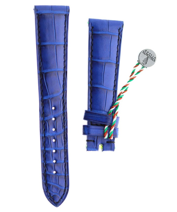 Electric Blue Alligator leather watch strap 20mm / Black stitching