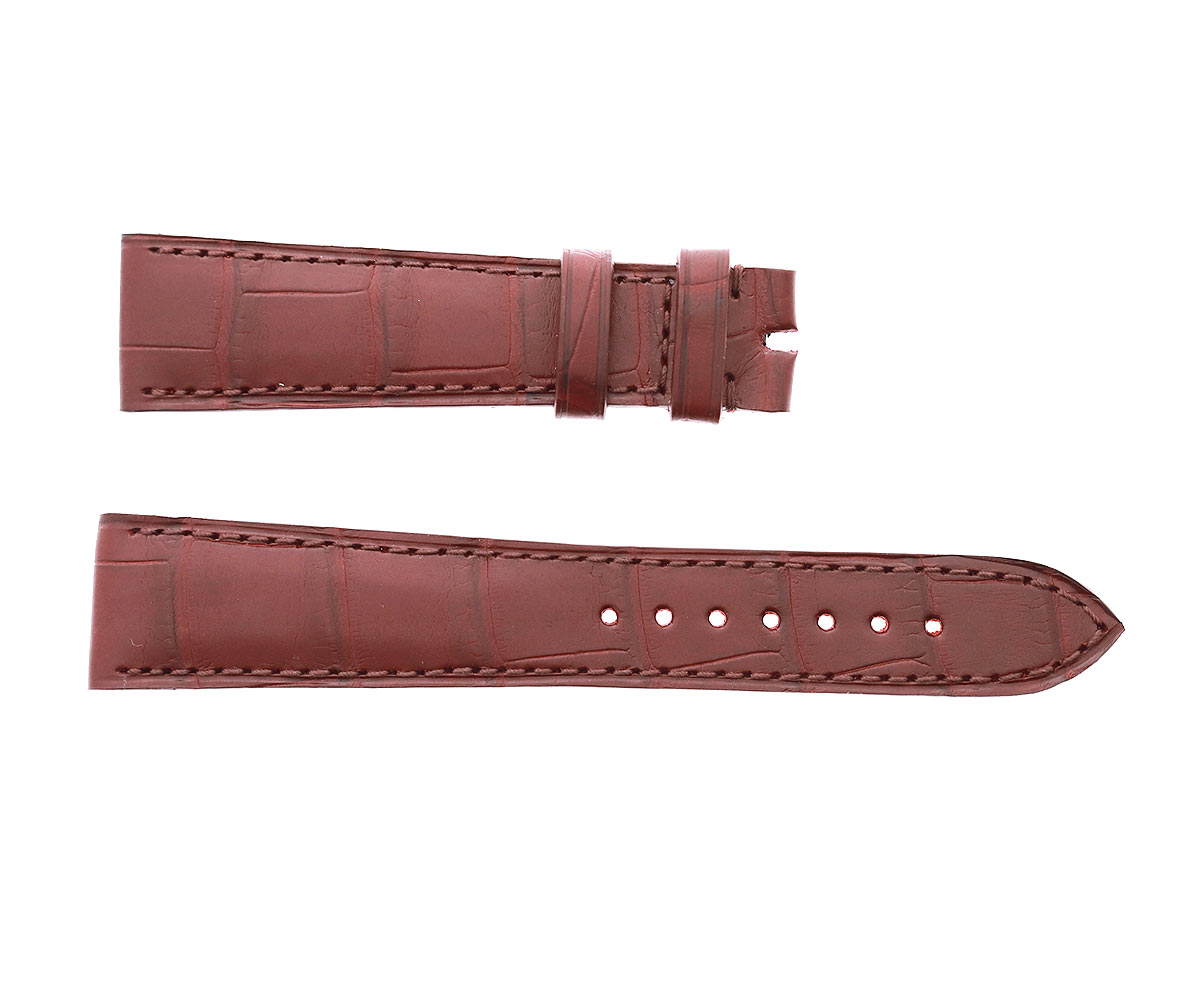 Brown Mahogany Matte Alligator leather strap 20mm