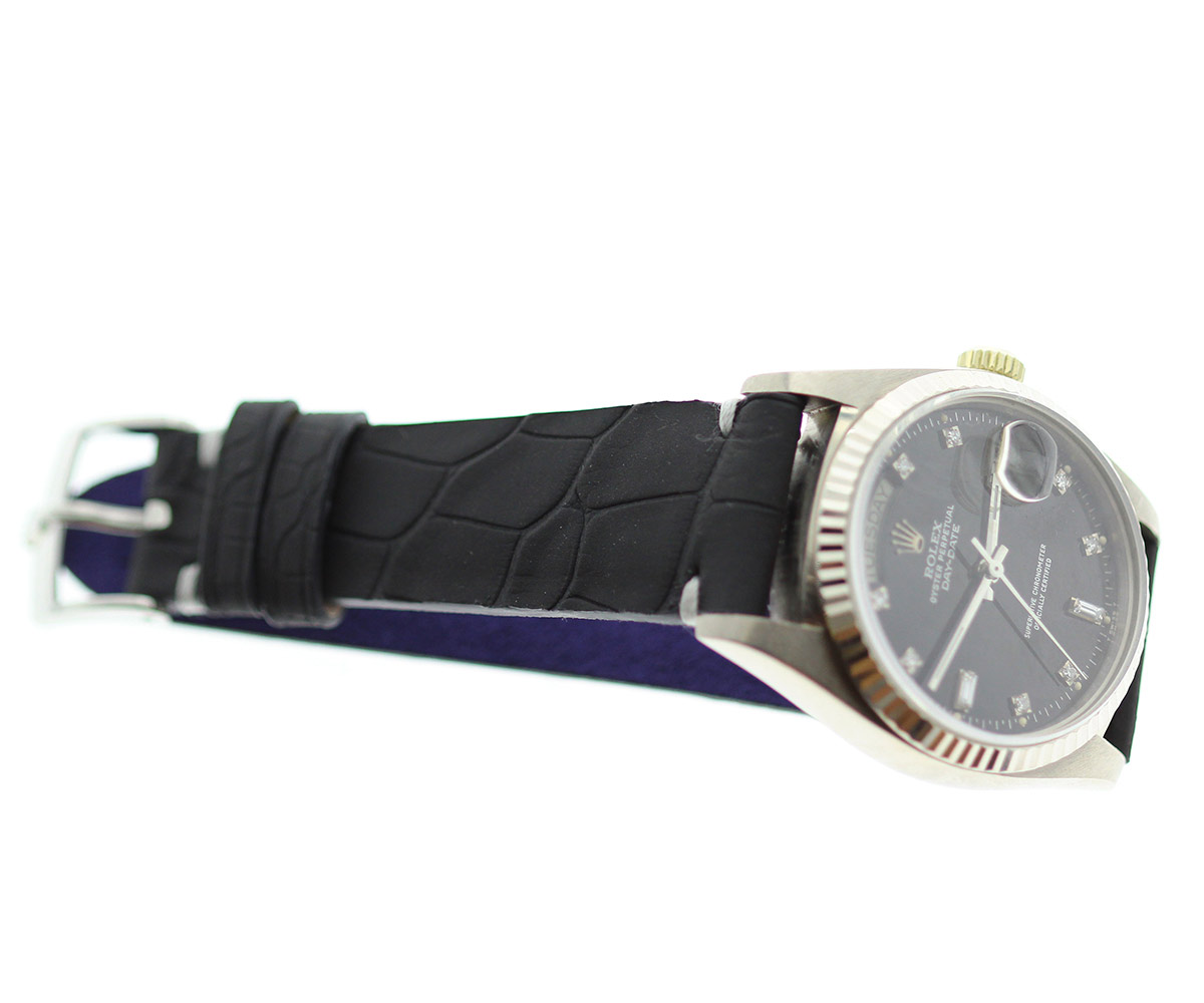 Black Hydro-rubberized Alligator leather strap