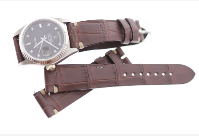 Brown Hydro Alligator strap 20mm Rolex Daydate, Dayjust. Presile stitching