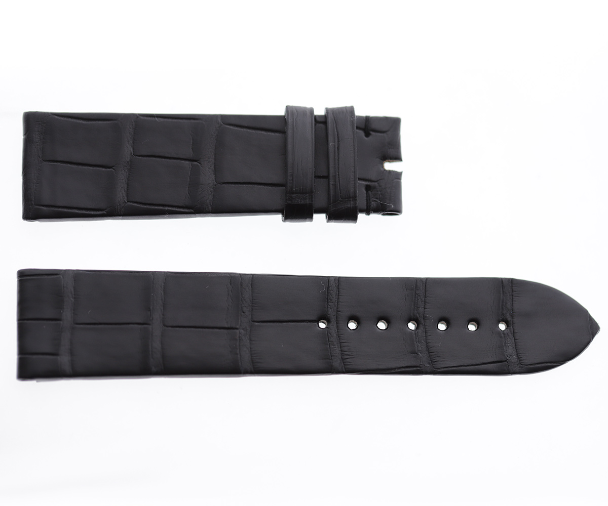 Black Double Hydro Alligator Leather strap 22mm, 21mm, 20mm. Alligator lining