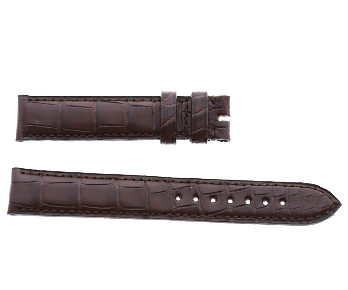 Impermeable Brown Alligator strap 18mm Jaeger LeCoultre Reverso or General style Timepieces. Regular stitching