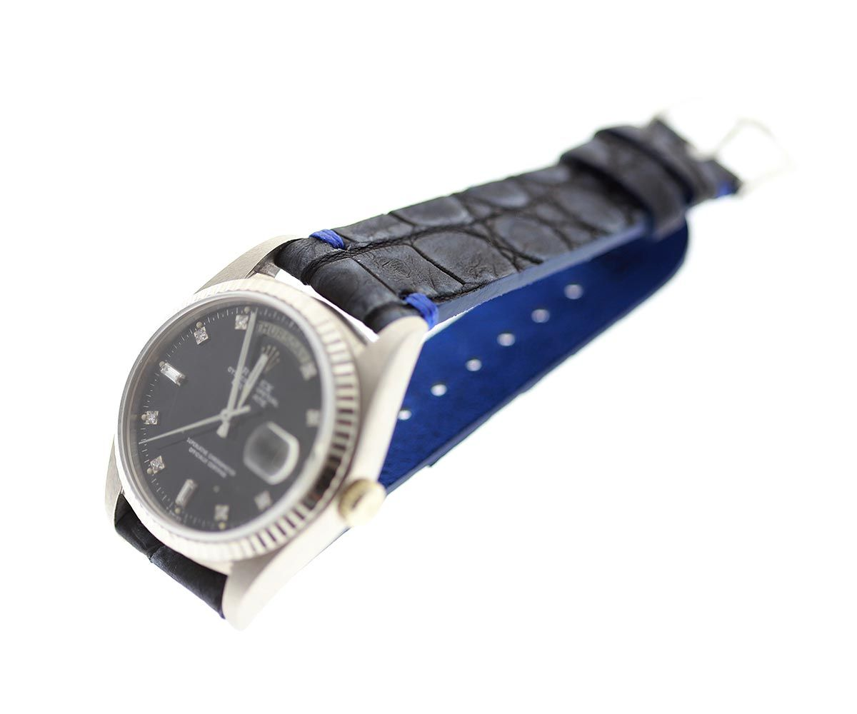 Blue Petrol Nubuck Exotic Caiman Latirostris leather strap 20mm Rolex Oyster style. Presile stitching