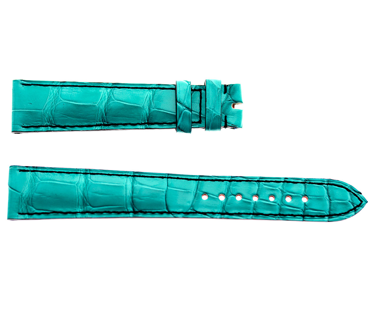 Green Alligator leather strap 20mm Rolex Oyster, Patek Philippe style. Handstitched. Large Size