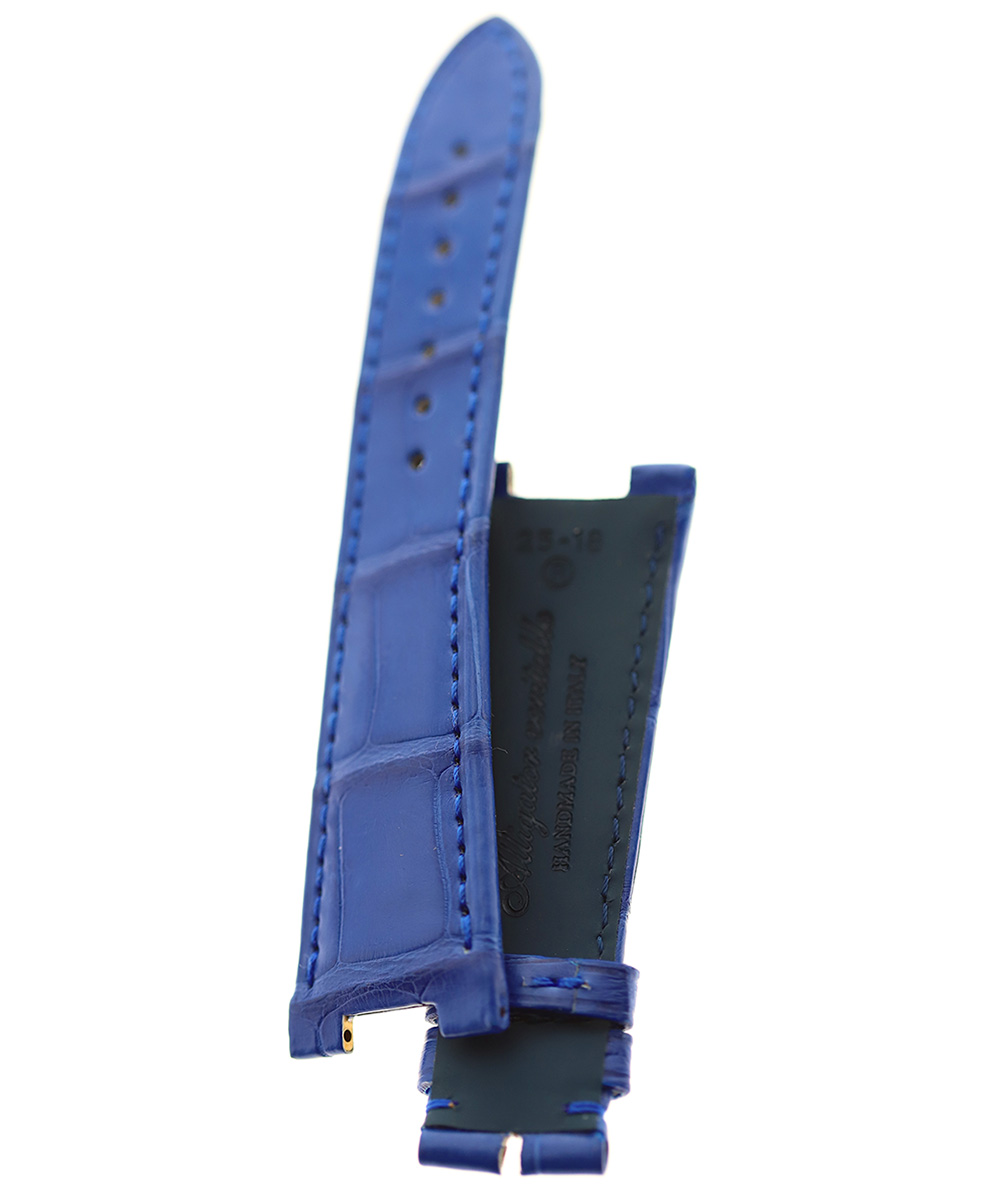 Patek Philippe Nautilus style watch strap 25mm in Blue Lapis Alligator leather