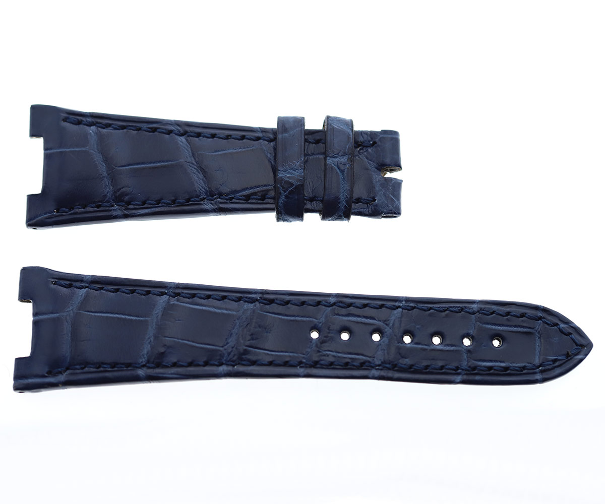 Patek Philippe Nautilus style watch strap 25mm in Gloss Navy Blue matte Alligator leather