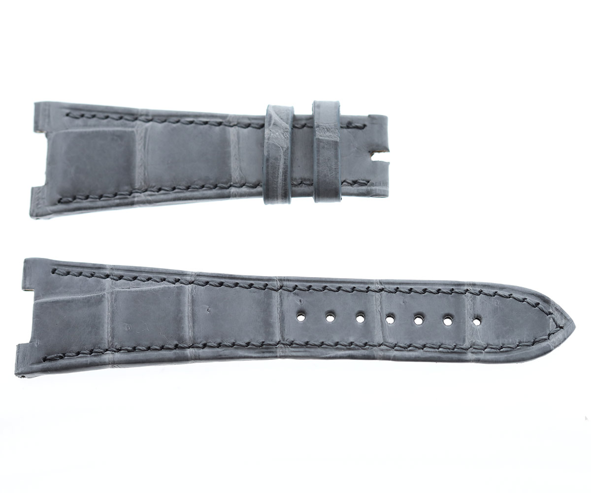 Patek Philippe Nautilus style watch strap 25mm in Gloss Silver Grey matte Alligator leather