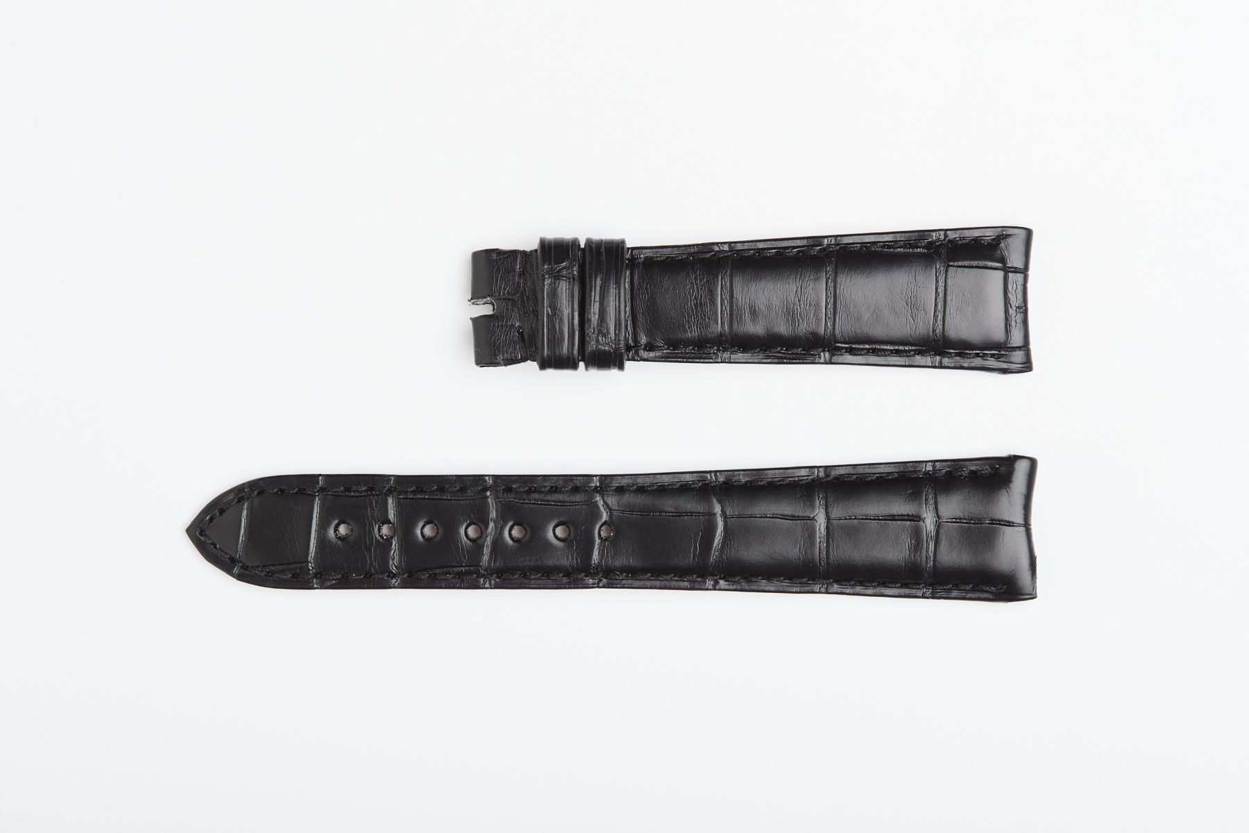 Rolex Cellini Dual / Time / Date Custom made strap in Black Matte Alligator leather. Curved lugs