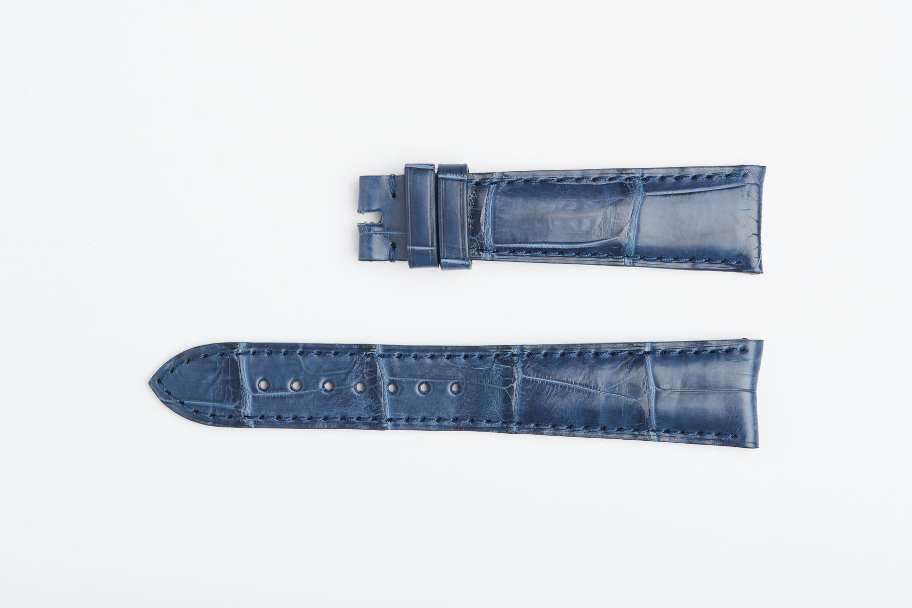 Rolex Cellini Dual / Time / Date Custom made strap in Blue Jeans Matte Alligator leather. Curved lugs
