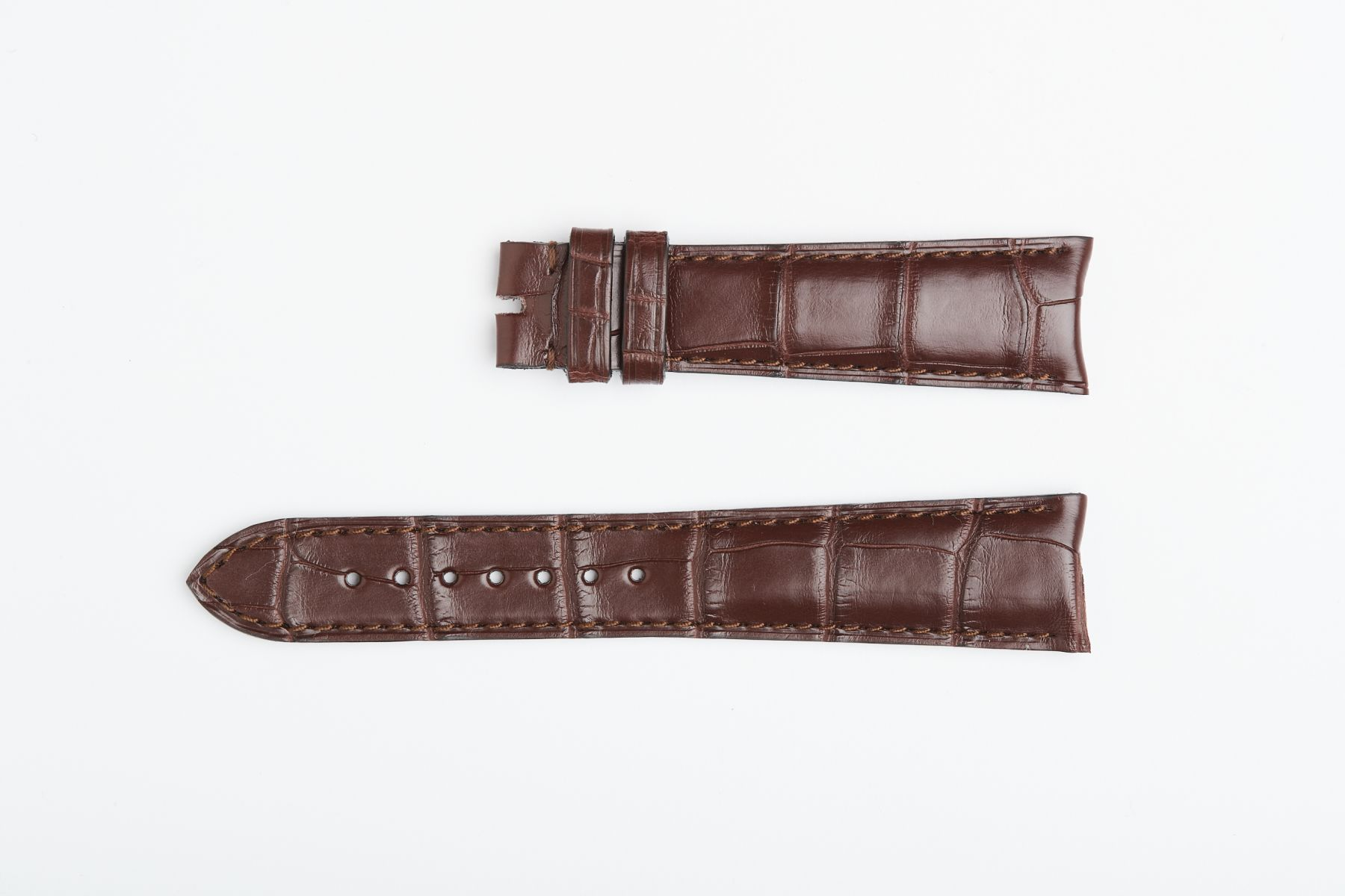 Rolex Cellini Dual / Time / Date Custom made strap in Chocolate Brown Matte Alligator leather. Curved lugs