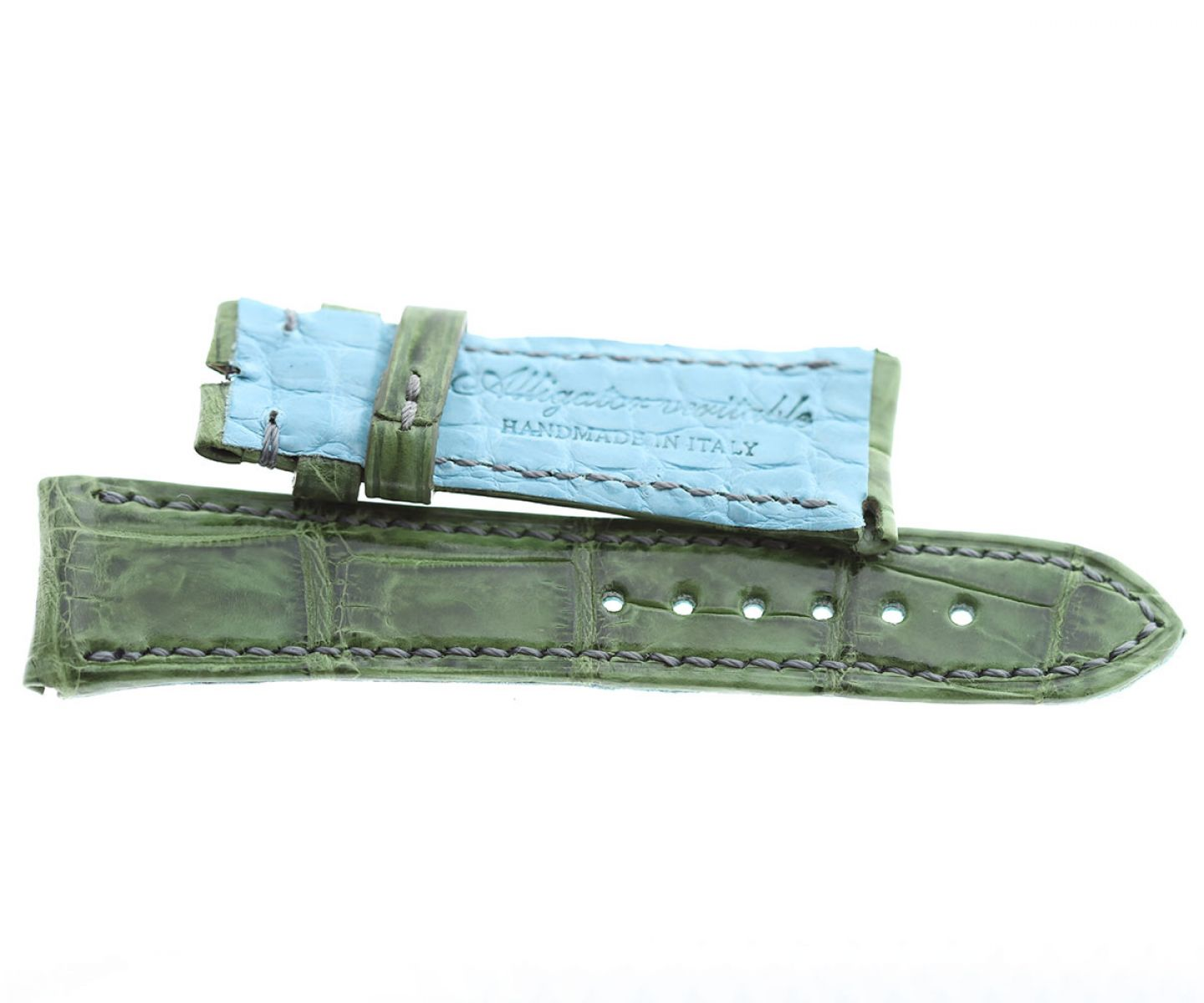 Rolex Cellini Dual / Time / Date Custom made strap in Vintage Green Alligator leather