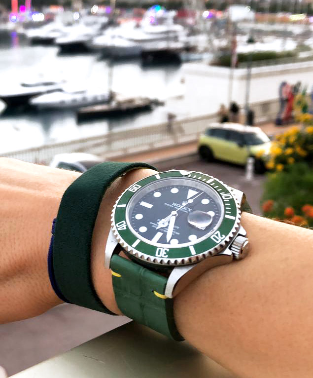 Green Jungle Alligator leather strap 20mm Rolex Submariner style. Fixed Buckle. By Order