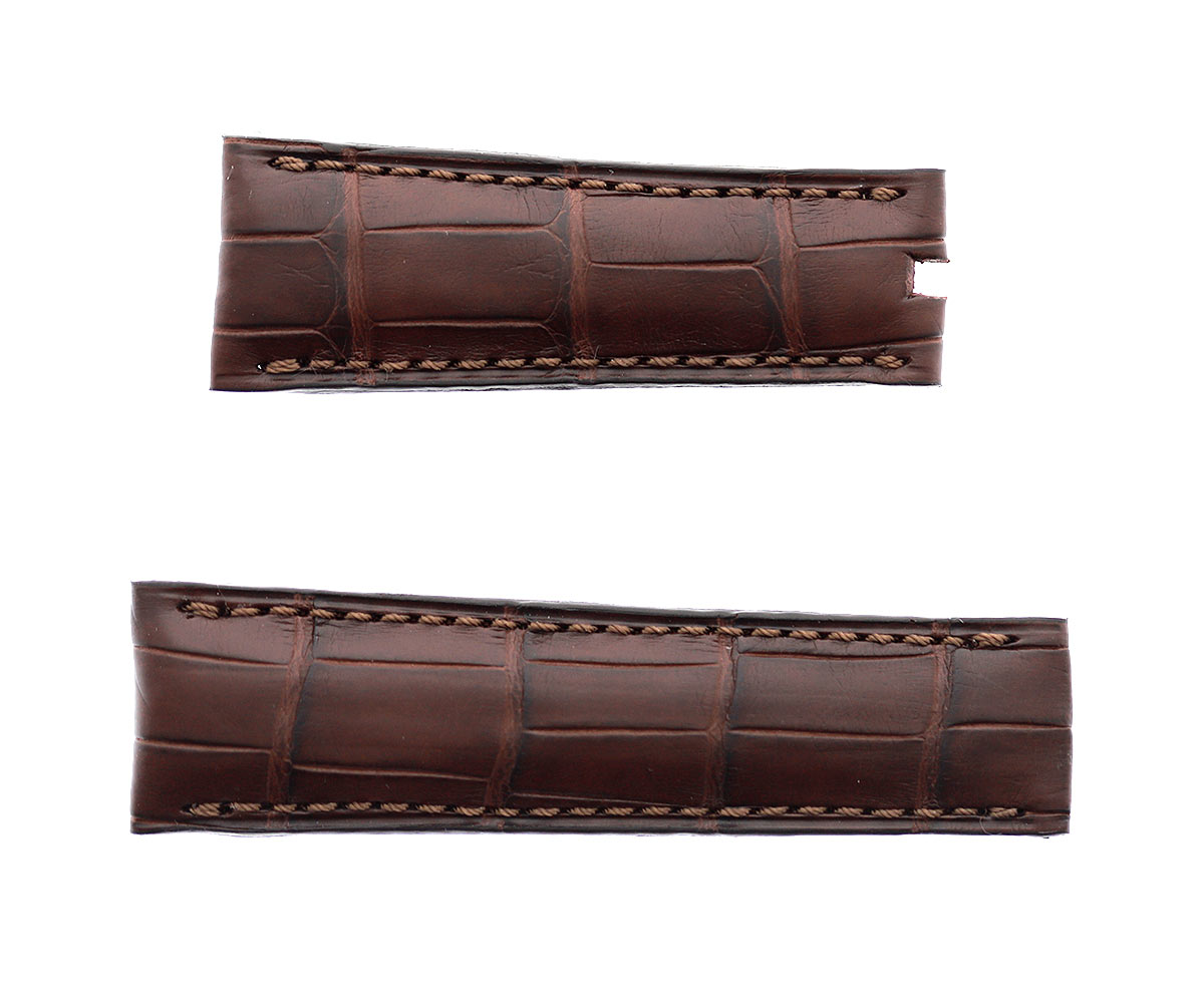 Brown Alligator Big Scales Leather strap 21mm Rolex Sky-Dweller style
