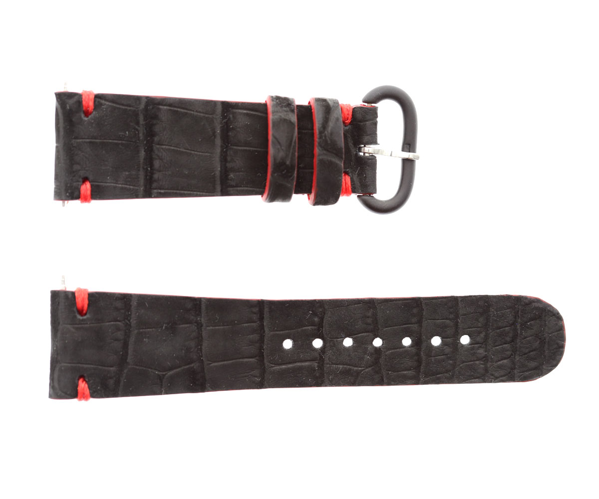 Custom Made Black Nubuck Alligator Leather strap