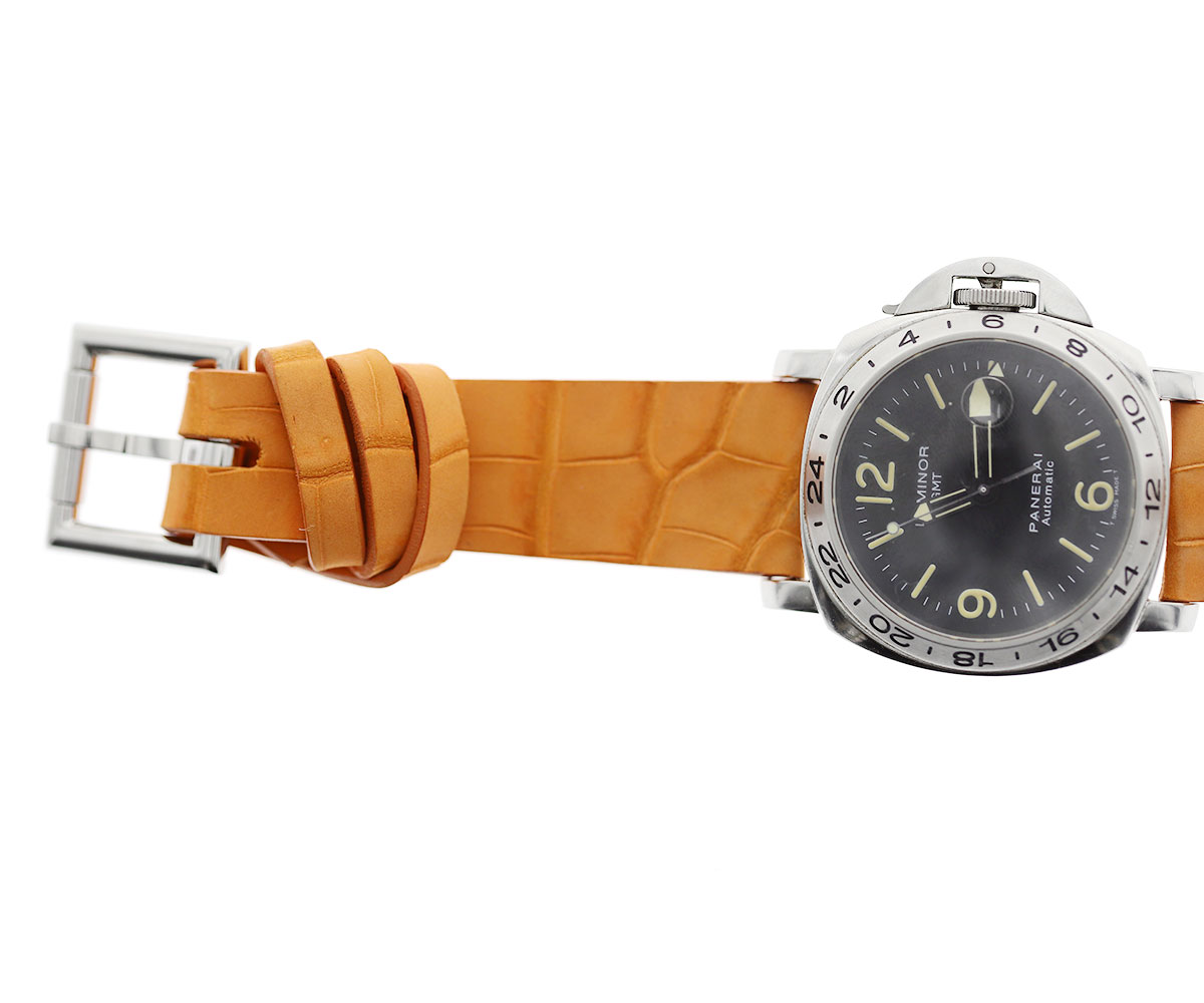 Orange Suede Nubuck Alligator strap 24mm Racer style