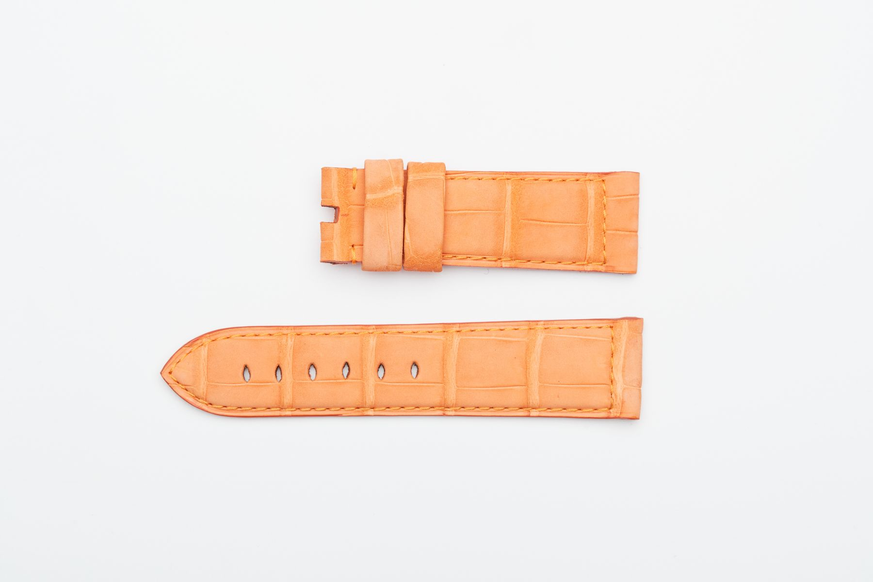 Orange Suede Nubuck Alligator strap 24mm Panerai style