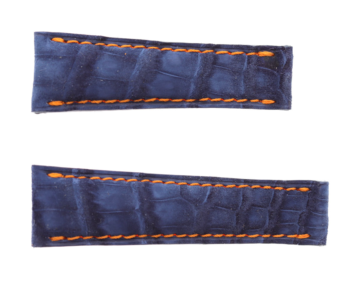 Blue Suede Alligator strap 20mm Rolex Daytona style. Orange stitching