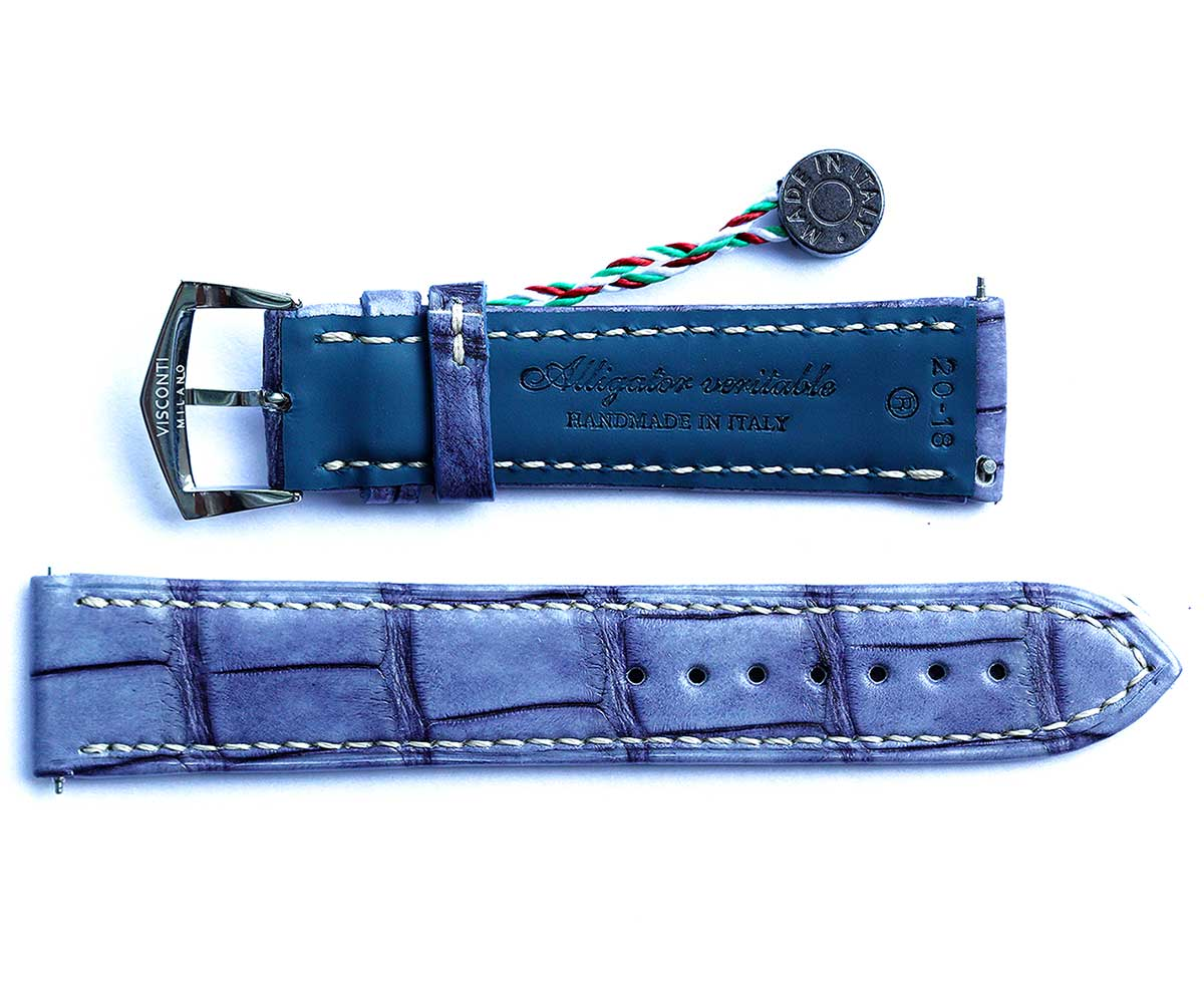 Vintage Blue Alligator leather strap / General style 18mm, 19mm, 20mm, 21mm, 22mm