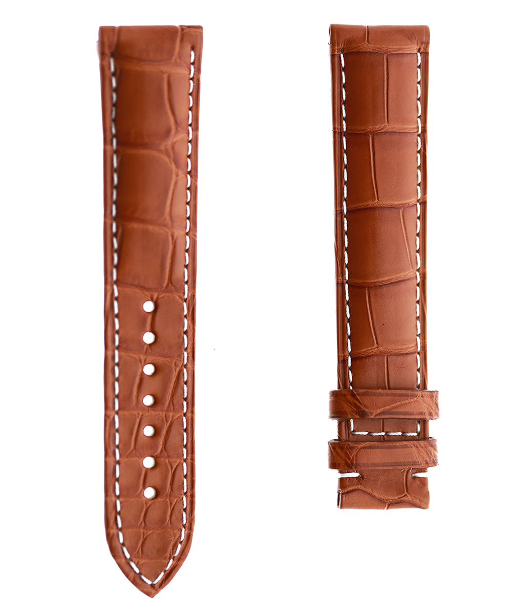 Honey Brown Alligator leather strap 20mm for Omega Speedmaster