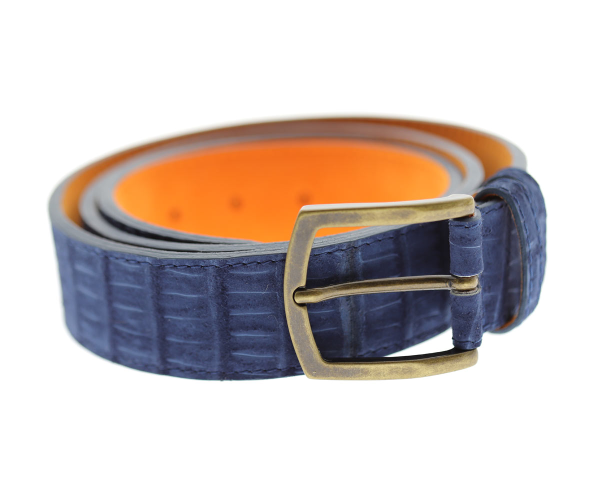 Ocean Blue Belt in Nubuck Alligator Leather