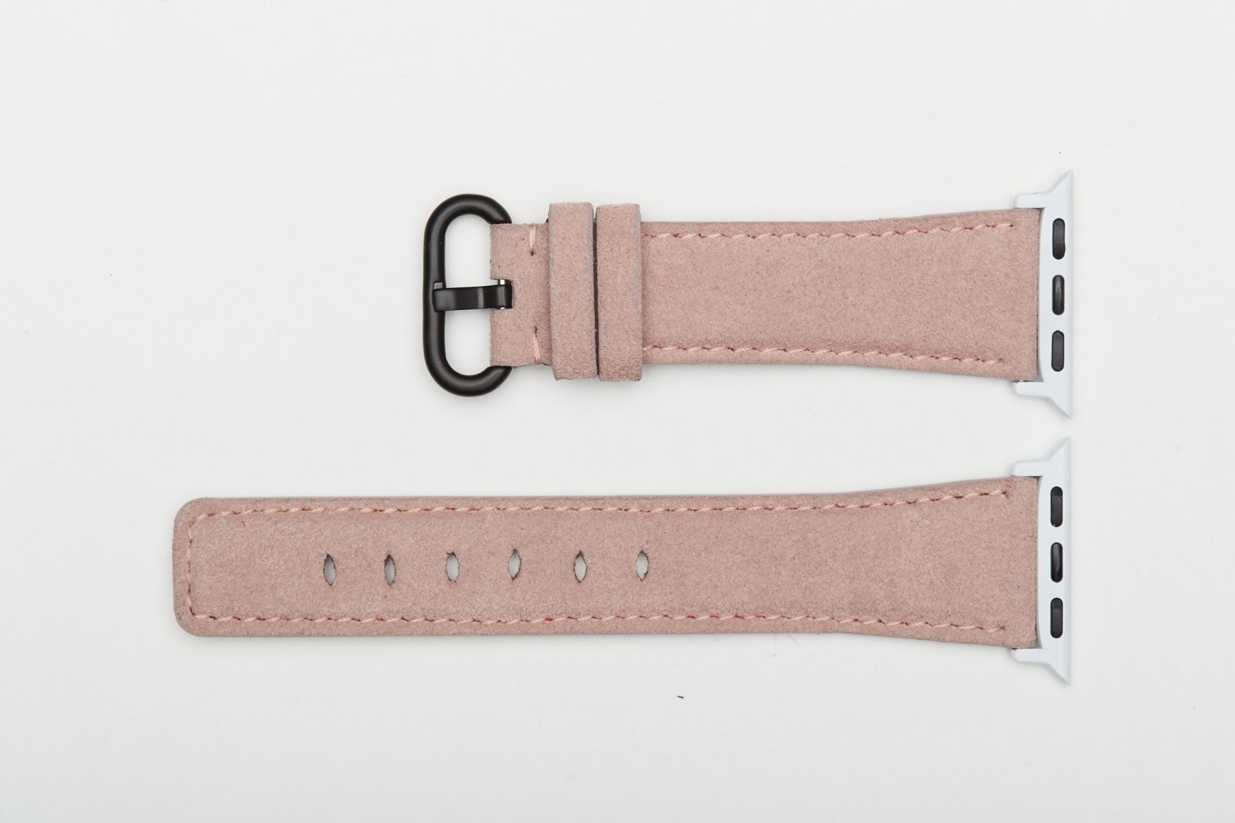 Vintage Pink Rose Original Alcantara Strap for 40mm, 38mm case (Apple Watch All Series). On-tone regular stitching. Vegan style.