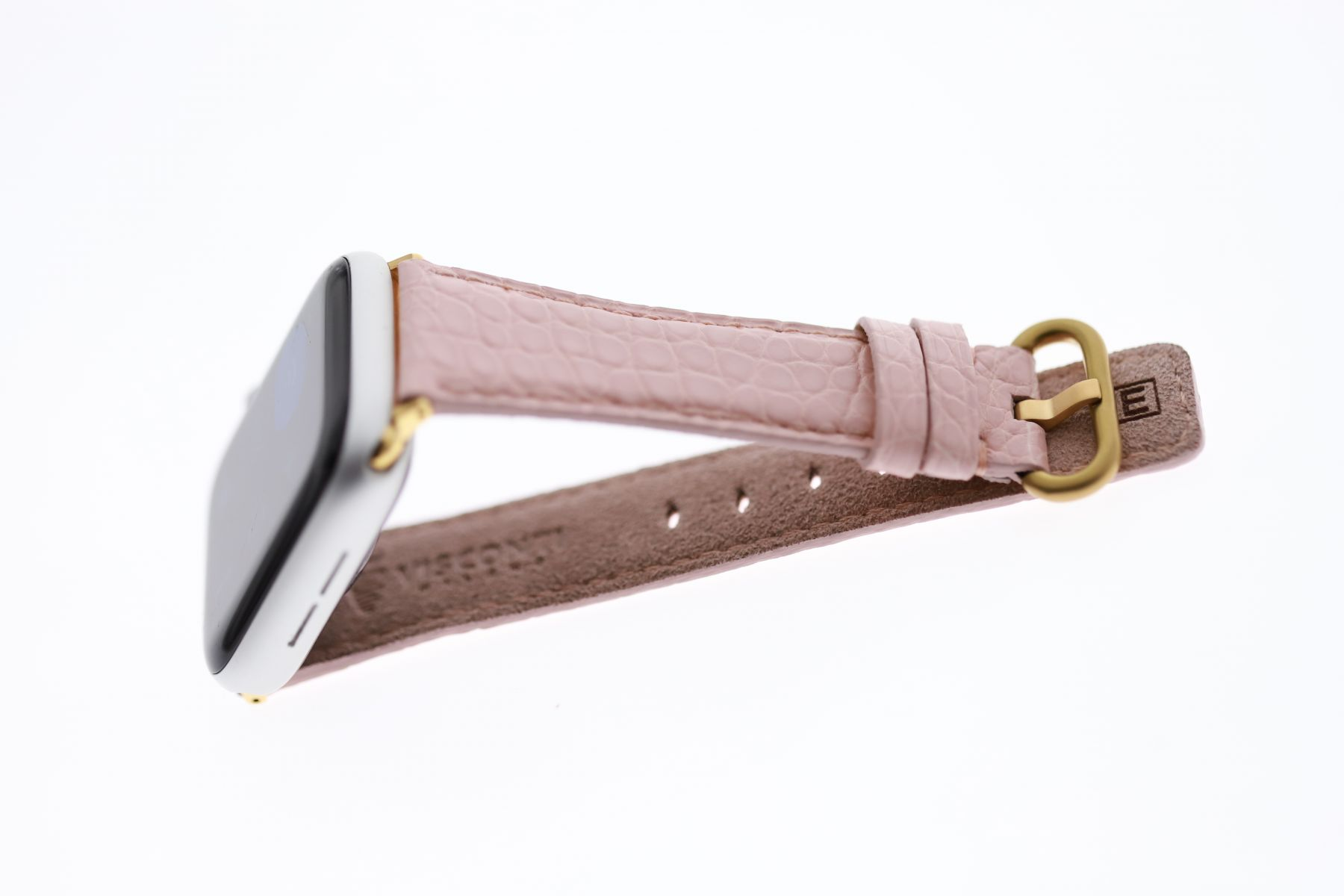 Pink Rose Matte Small Scaled Alligator Leather strap for Apple Watch 40mm, 38mm (All generations)