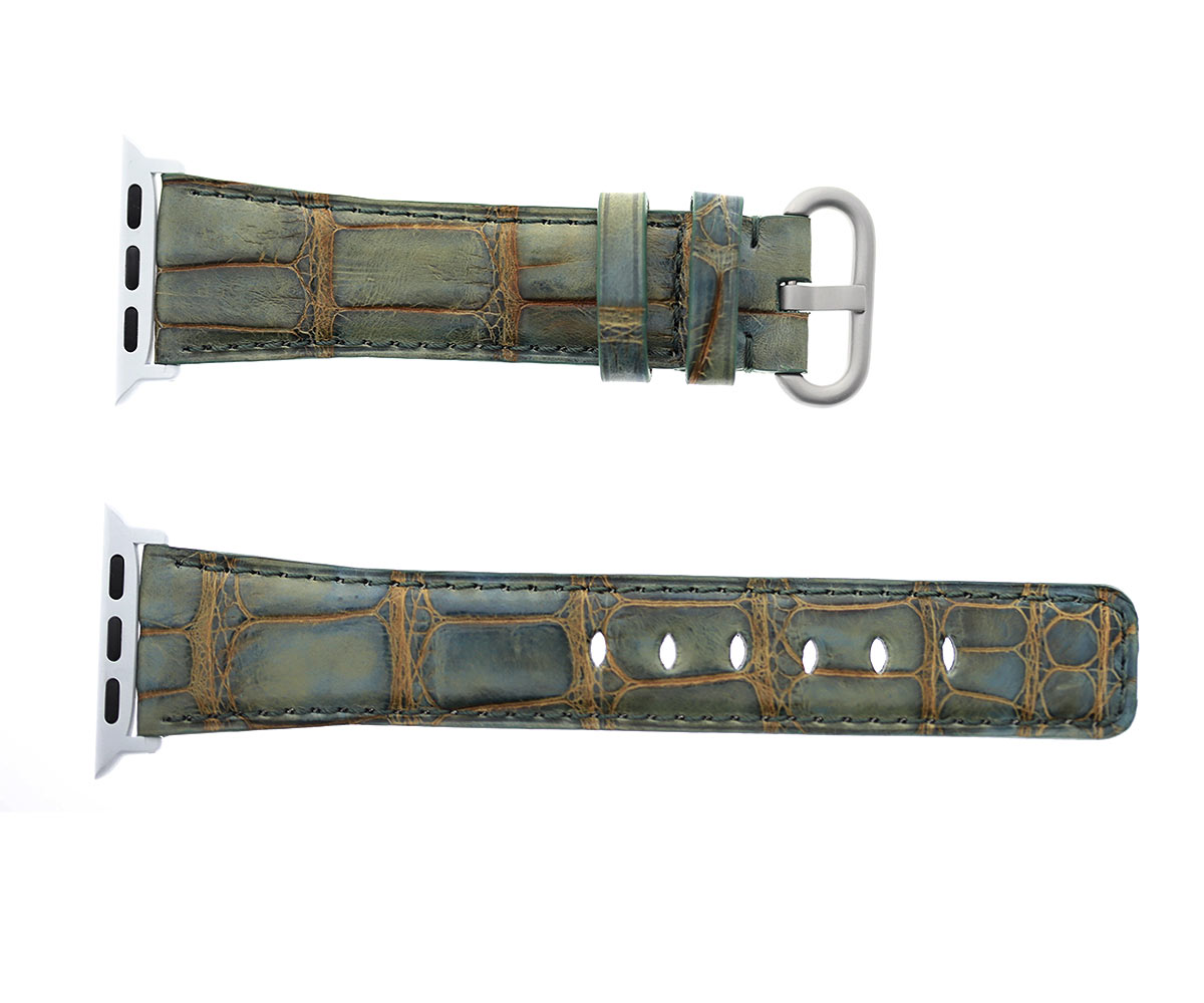 London Vintage Green Alligator Leather strap for Apple Watch 40mm, 38mm (All generations)