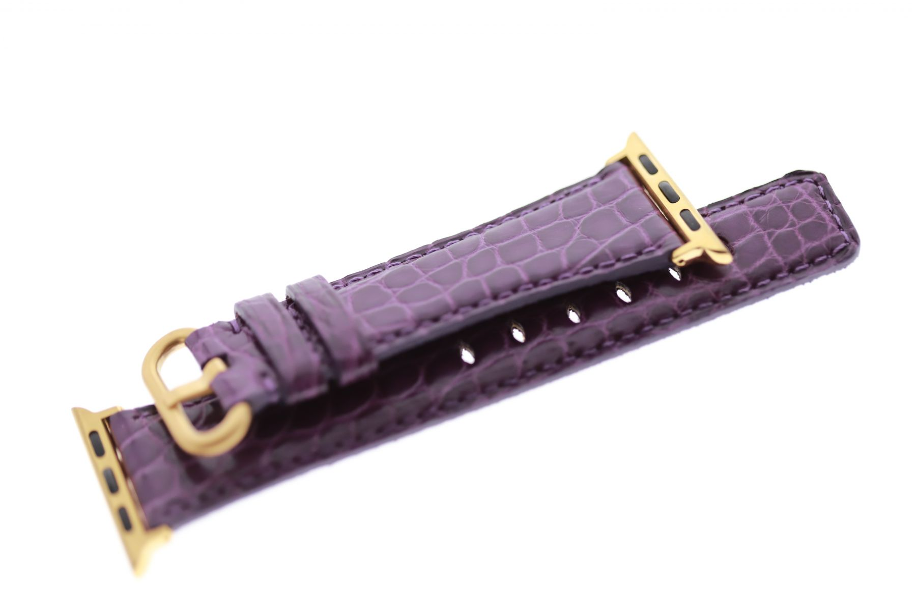Violet Matte Small Scaled Alligator Leather strap for Apple Watch 40mm, 38mm (All generations)