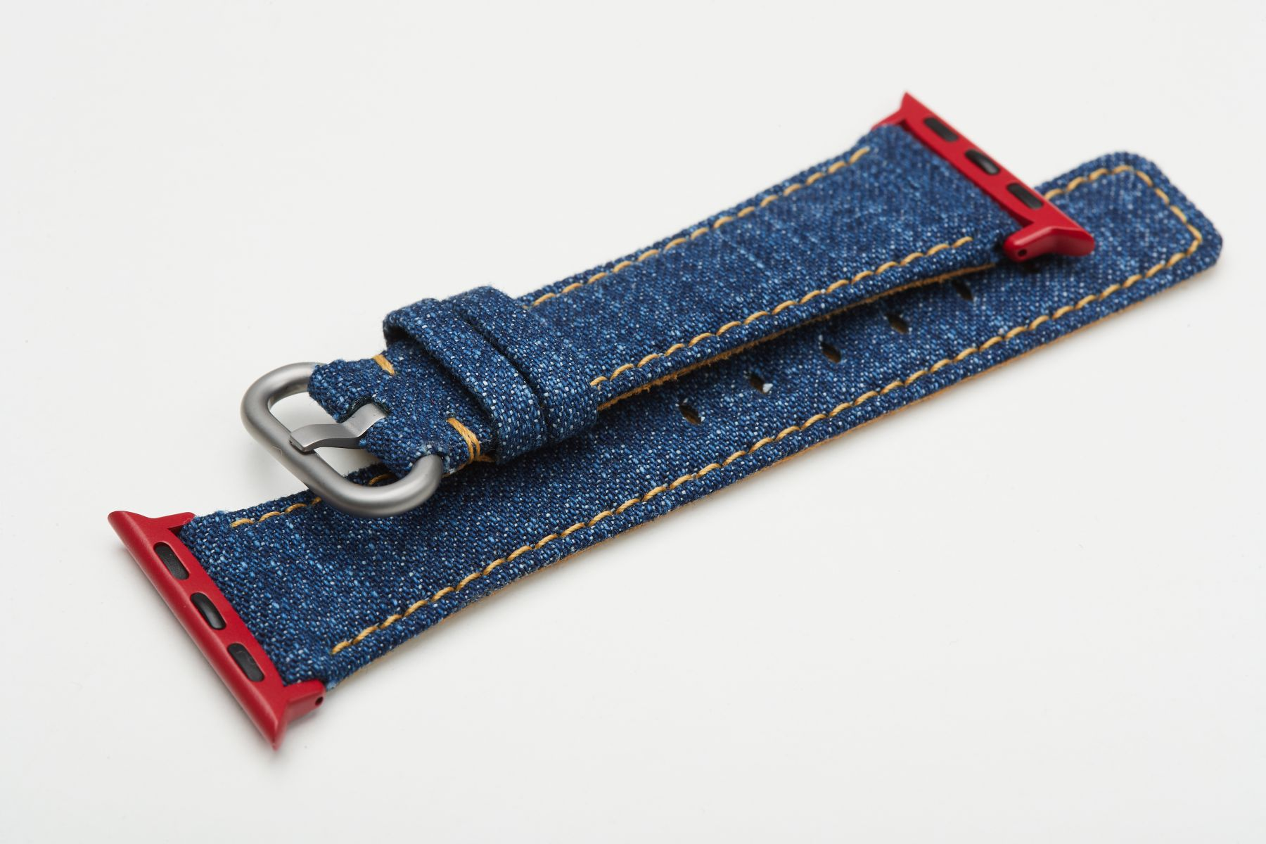 Tokyo Blue Japanese Denim Strap for 40mm, 38mm case (Apple Watch All Series). Yellow regular stitching. Vegan style.