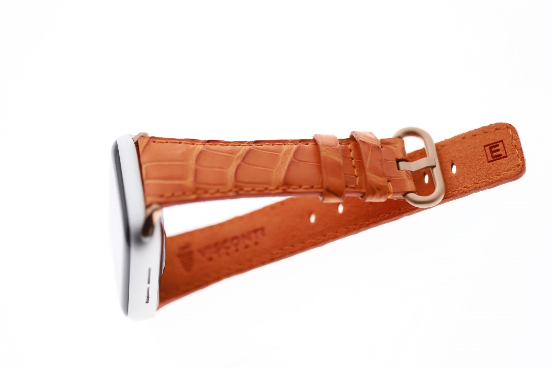 Orange Matte strap for Apple Watch 40mm, 38mm (All generations) in Exotic Caiman Latirostris Leather