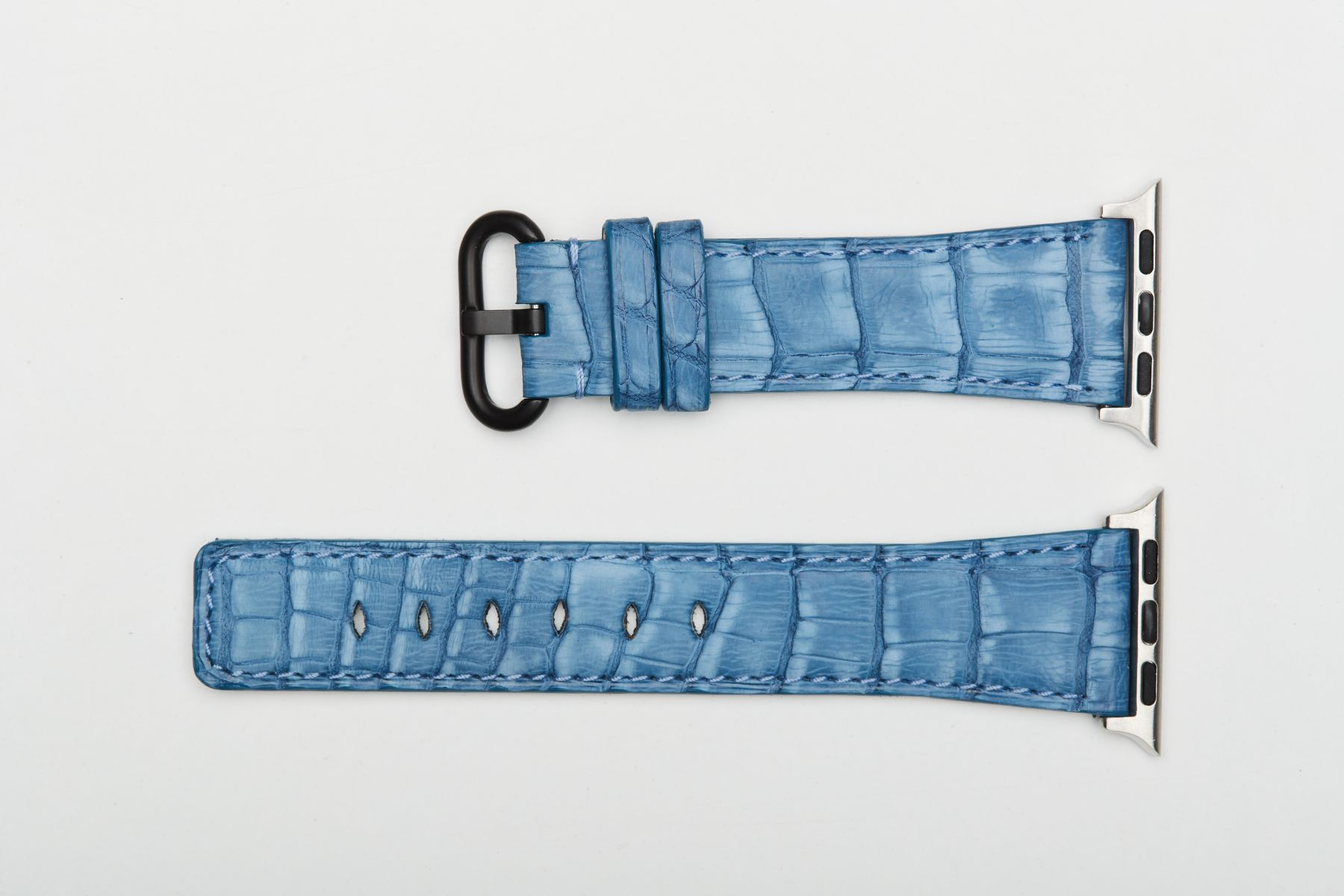 Jeans Nubuck Caiman Latirostris leather watch strap for Apple Watch 40mm, 38mm (All generations).