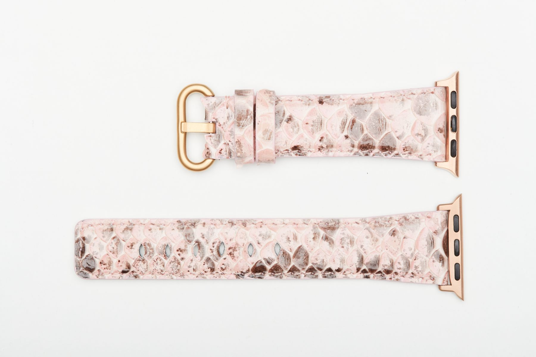 Pink Python leather watch strap for Apple Watch 40mm, 38mm (All generations).