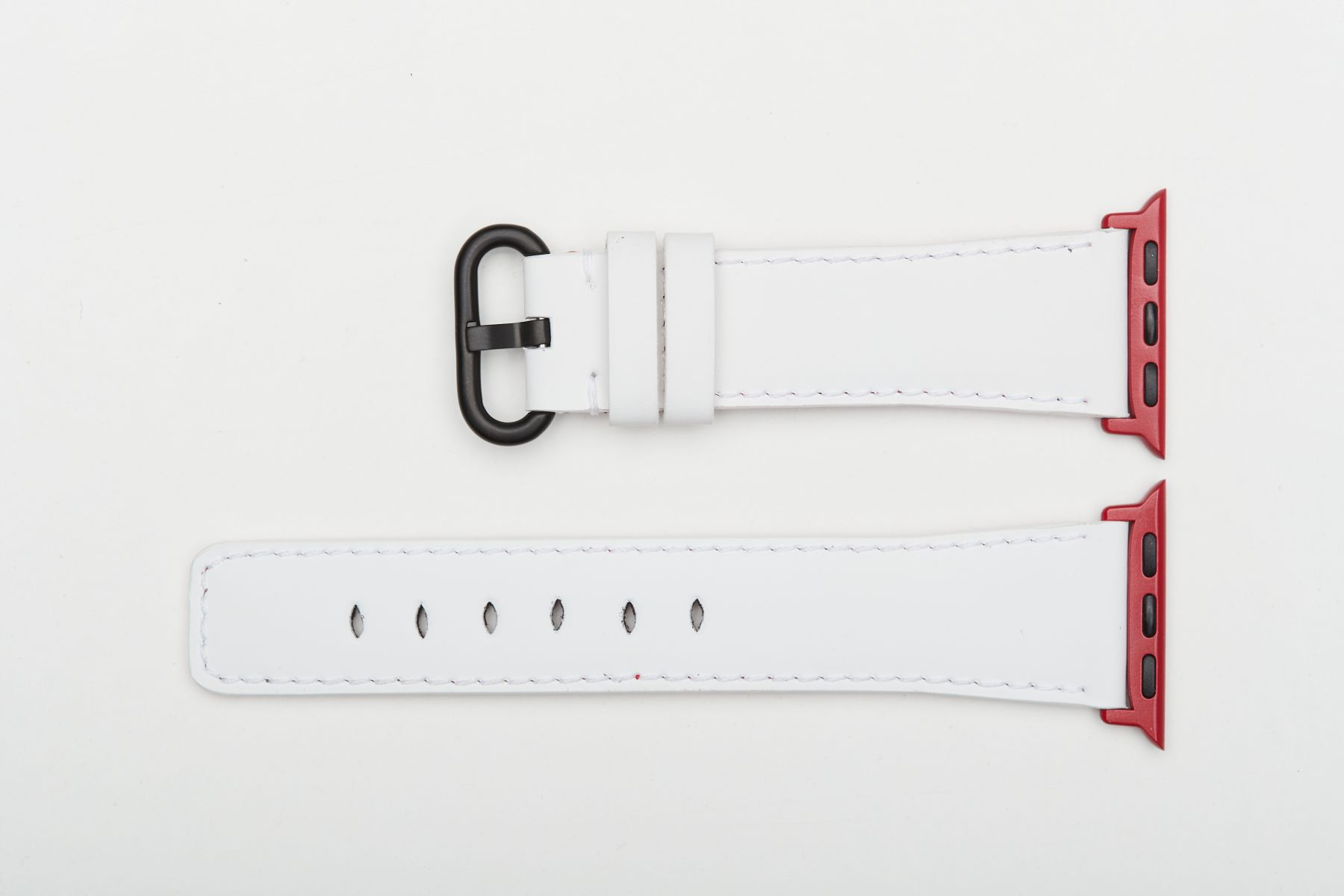 White Rubberized Calf Leather Strap for 40mm, 38mm case (Apple Watch All Series). On-tone regular stitching.