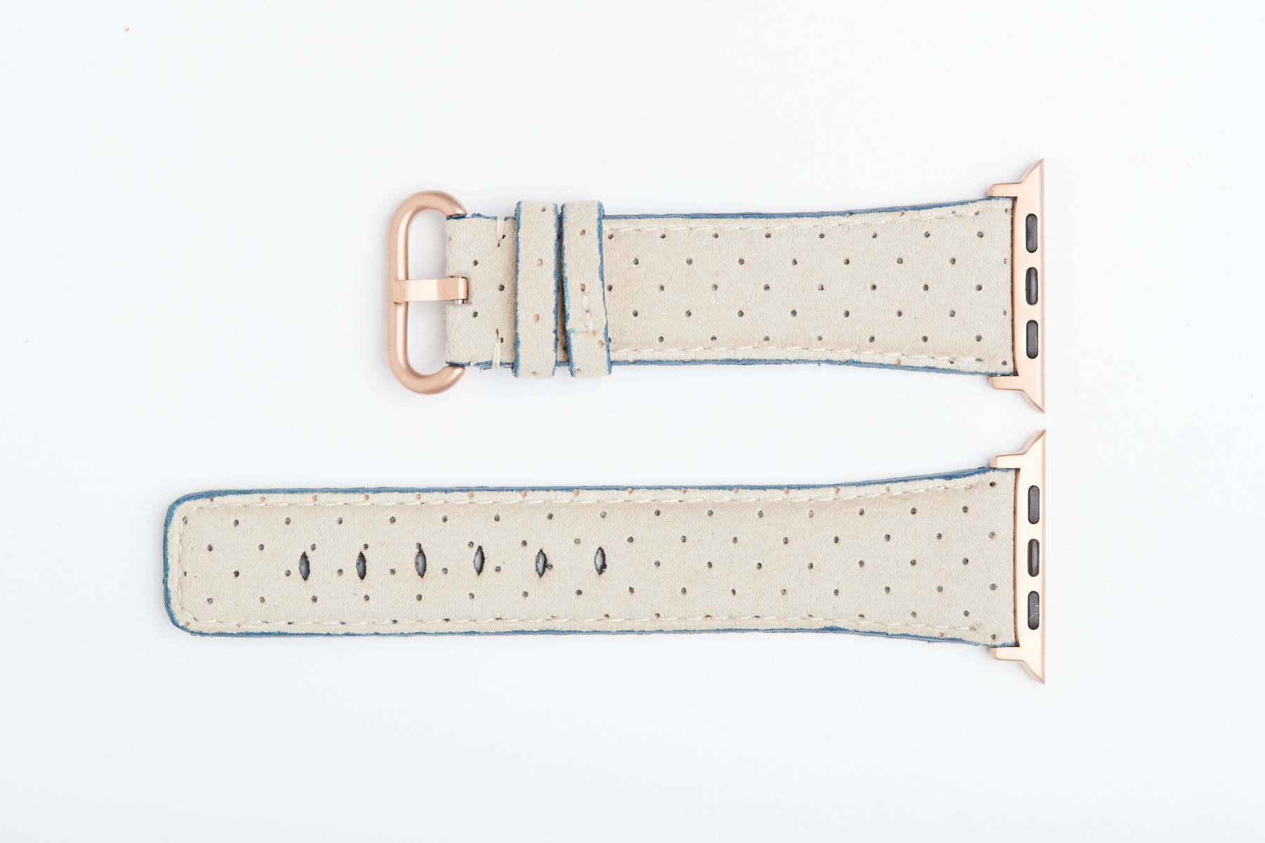 Beige Perforated Original Alcantara Strap for 44mm, 42mm case (Apple Watch All Series). Vegan style.