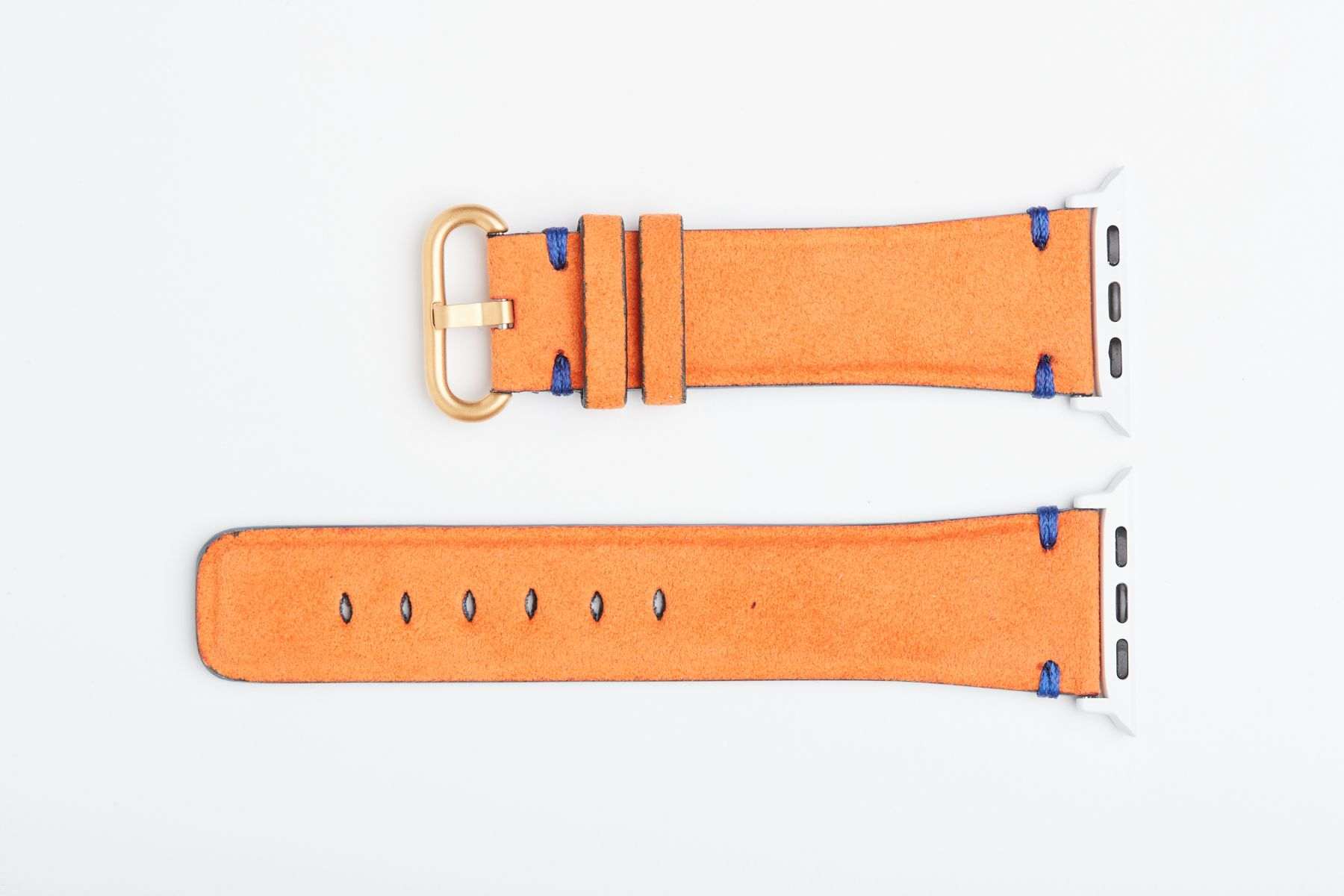 Rio Orange Original Alcantara Strap for 44mm, 42mm case (Apple Watch All Series). Presile stitching. Vegan Style.