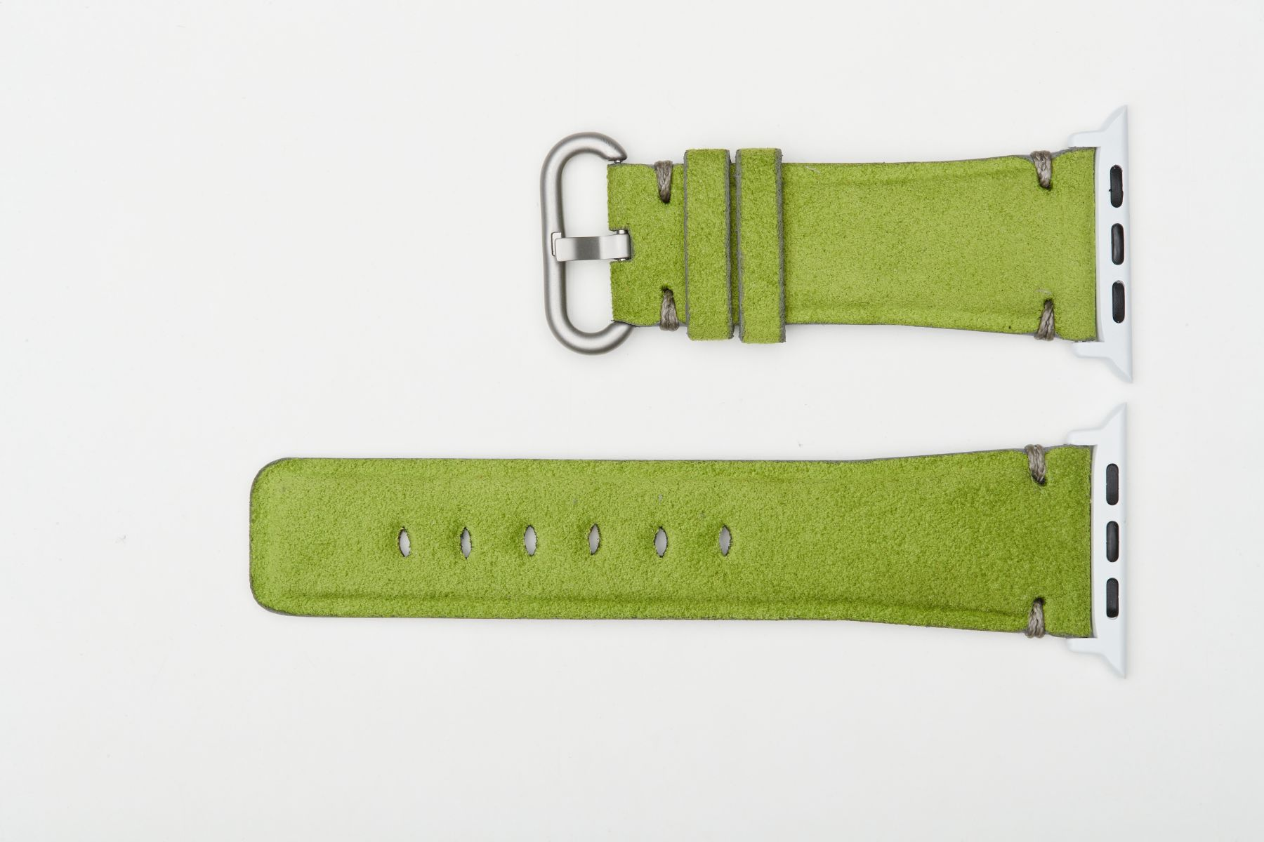 Spring Green Original Alcantara Strap for 44mm, 42mm case (Apple Watch All Series). Presile stitching. Small wrist.