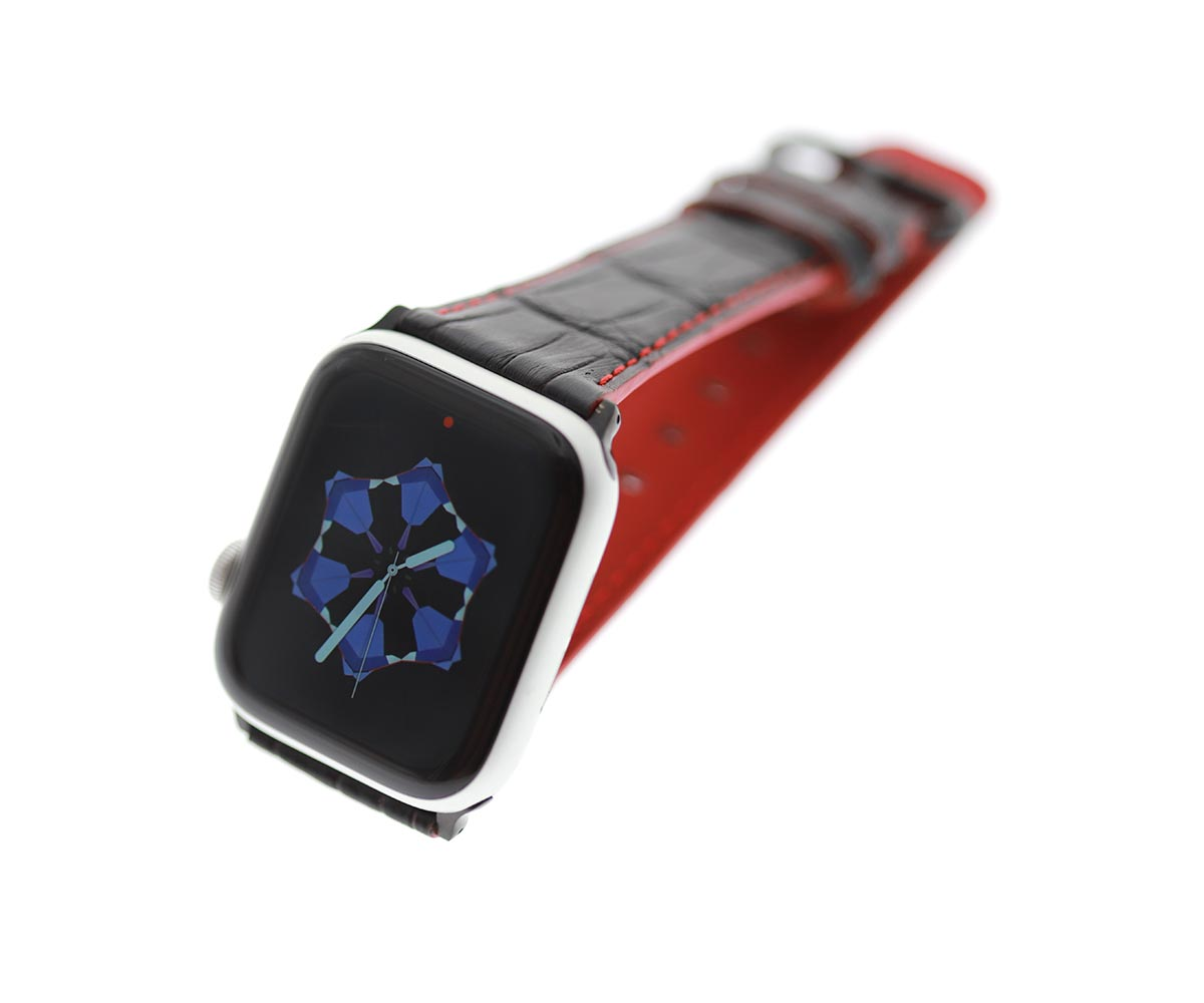 Black Alligator Leather strap for Apple Watch 44mm, 42mm (All generations) Red Stitching