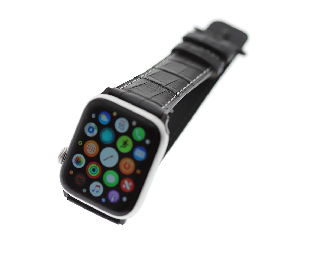 Black Alligator Leather strap for Apple Watch 44mm, 42mm (All generations) White Stitching