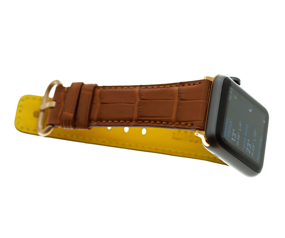 Gold Brown Matte Alligator Apple Watch Strap 44mm, 42mm (All generations)