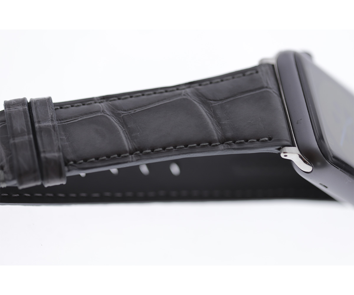 Milano Grey Matte Alligator Apple Watch Strap 42mm (All generations)