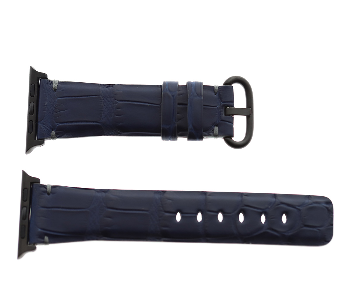 Blue Navy Matte Alligator Apple Watch Strap 44mm, 42mm. Presile Hand stitching (All generations)