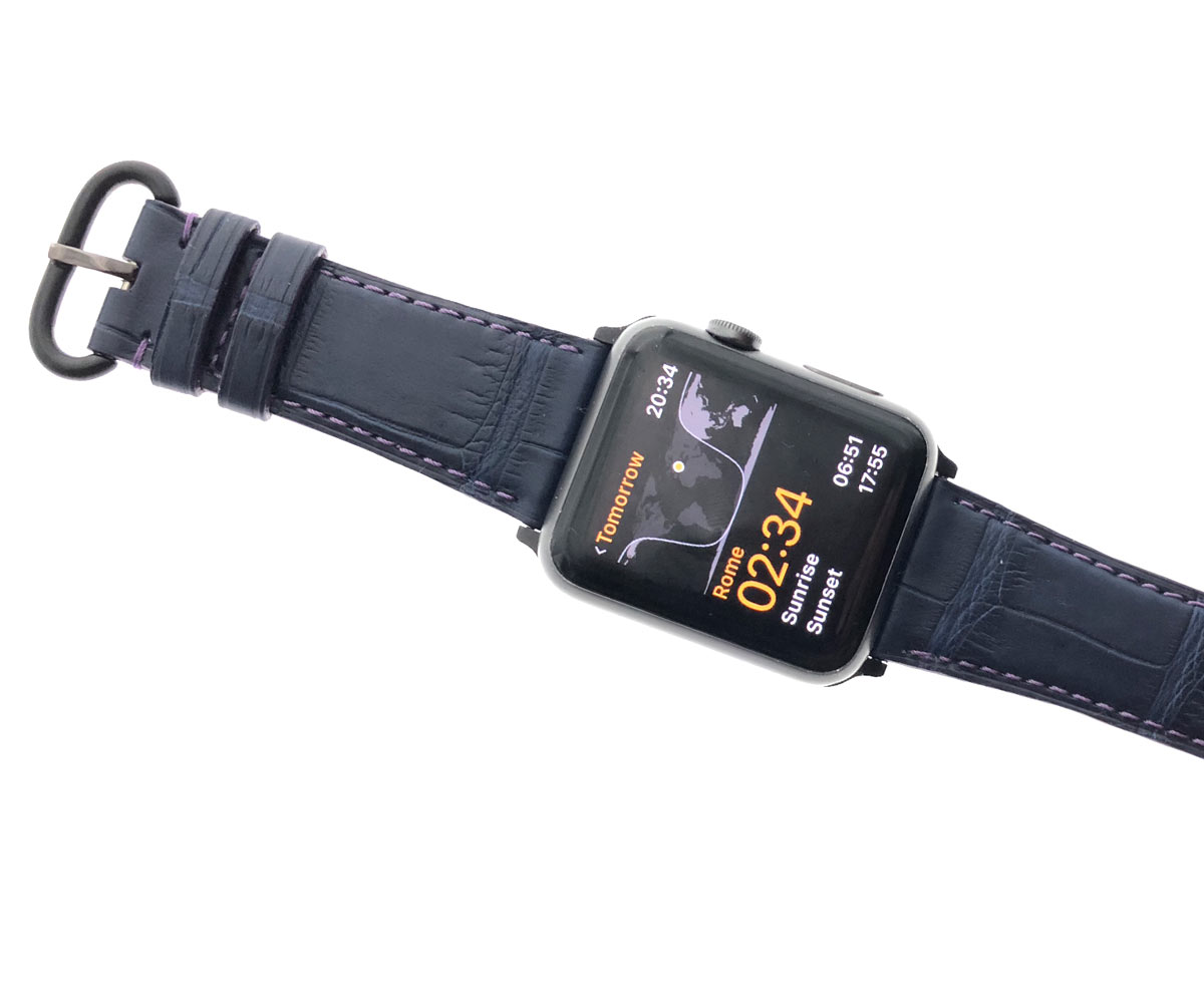 Blue Navy Matte Alligator Apple Watch Strap (All Sizes and Generations) with Violet stitching