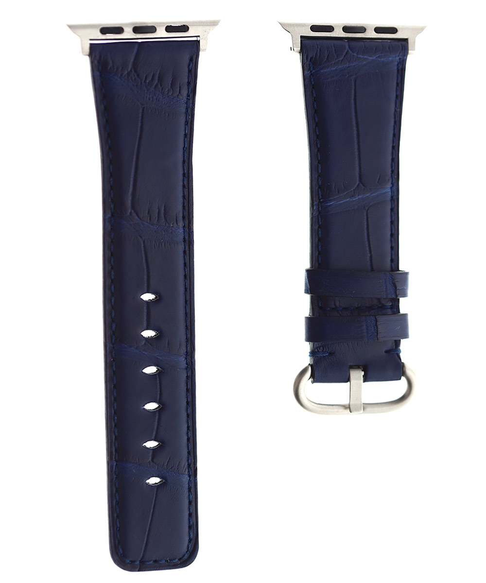 Blue Navy Matte Alligator Apple Watch Strap 42mm (All generations)