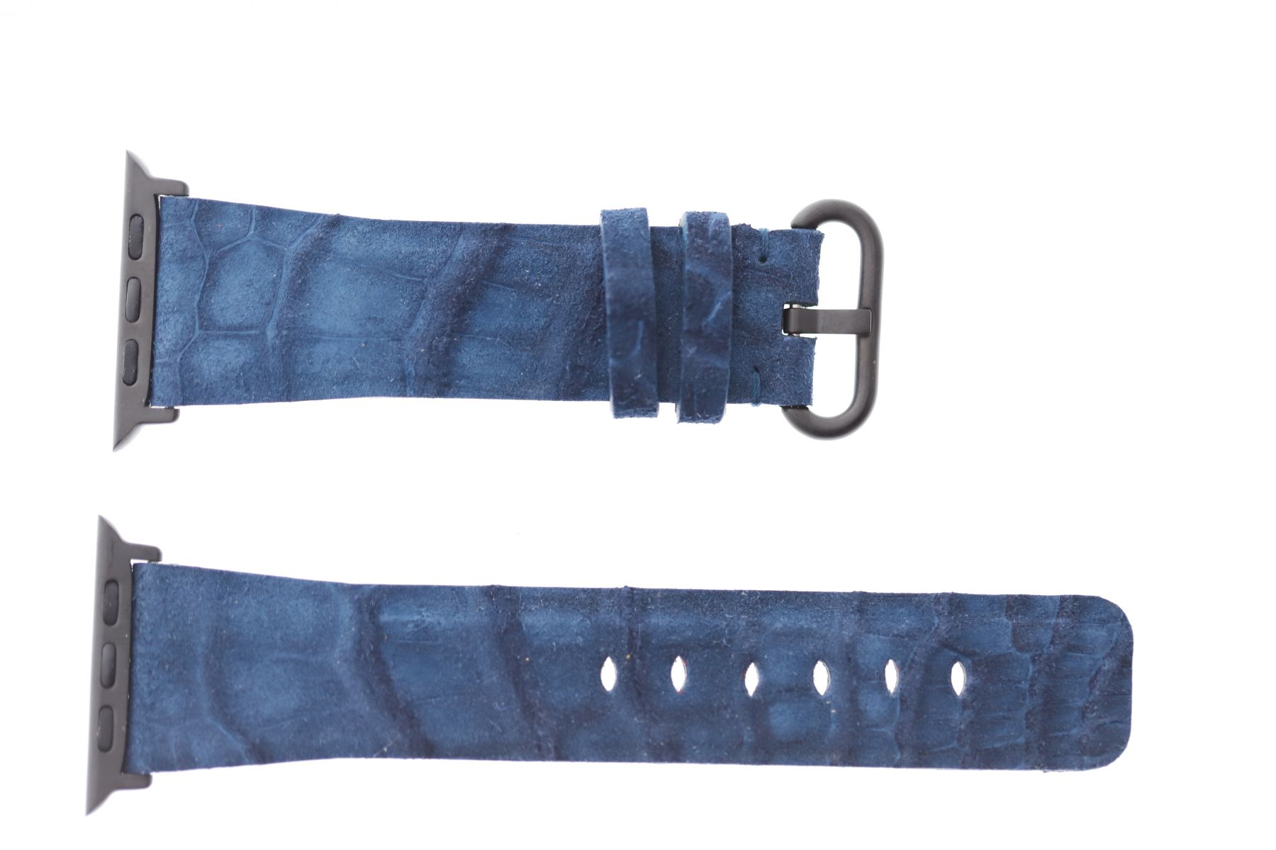 Blue Nubuck Alligator leather Apple Watch Strap 44mm, 42mm (All generations)