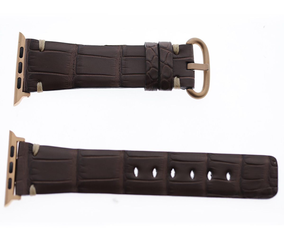 Brown Impermeable Alligator leather Apple Watch Strap 44mm, 42mm. Hand Presile stitching (All generations)