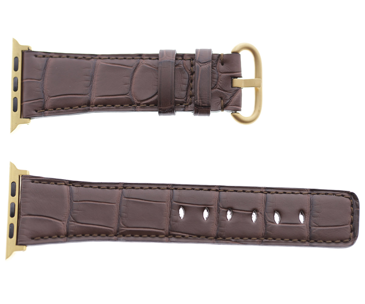 Brown Impermeable Alligator leather Apple Watch Strap 44mm, 42mm. Regular stitching (All generations)