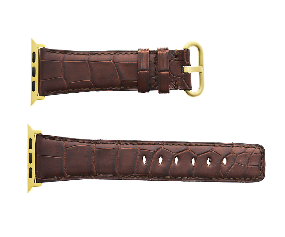 Brown Hydro Alligator leather Apple Watch Strap 44mm, 42mm. Same alligator lining (All generations)