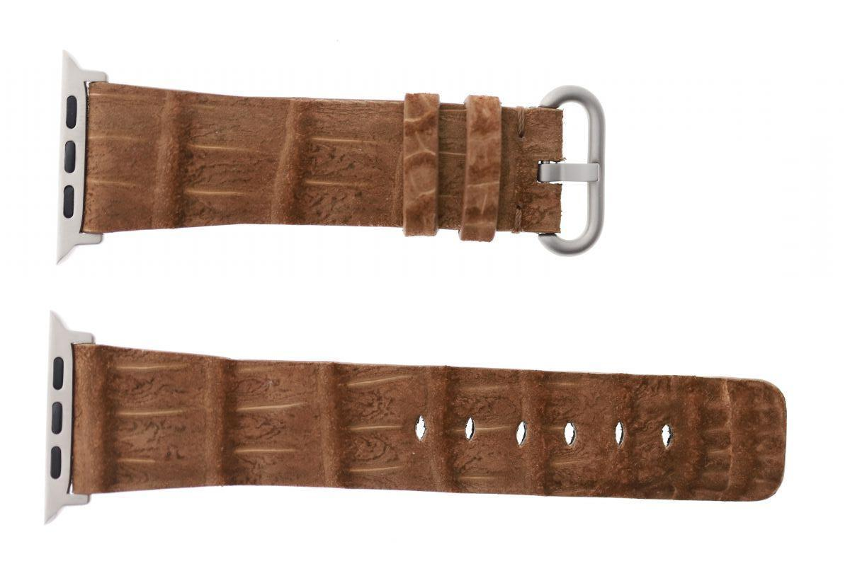 Brown Nubuck Alligator leather Apple Watch Strap 44mm, 42mm (All generations)