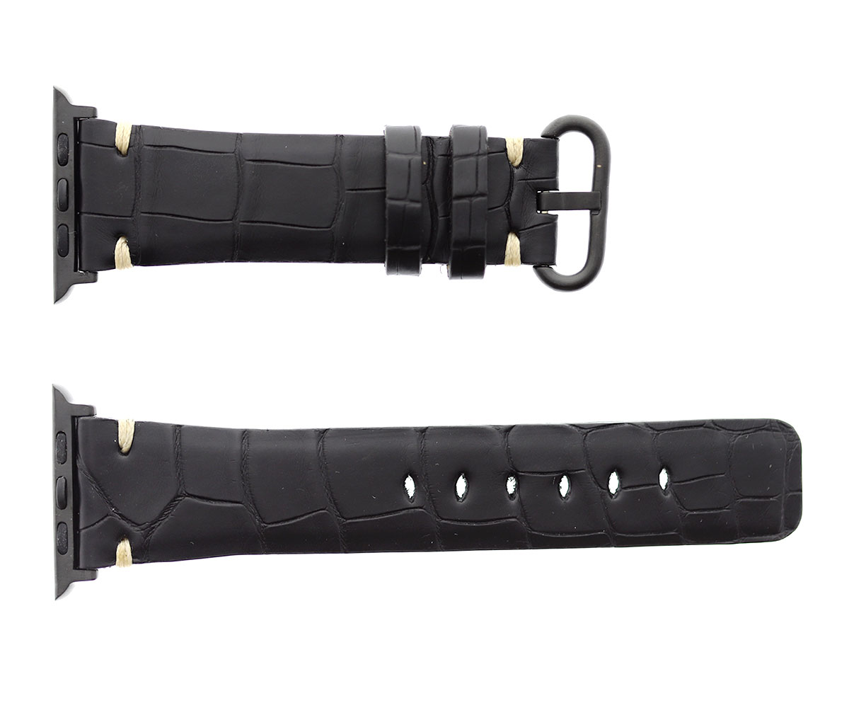 BLACK HYDRO ALLIGATOR LEATHER STRAP FOR APPLE WATCH (ALL GENERATIONS) PRESILE ECRU STITCHING